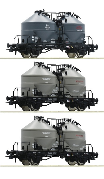 Roco 76093 3 piece set Silo wagons DB