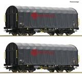 Roco 76039 2 piece set Sliding tarp aulin wagons
