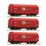 Roco 76095 3 piece set Slide tarpaulin wagons Novelis