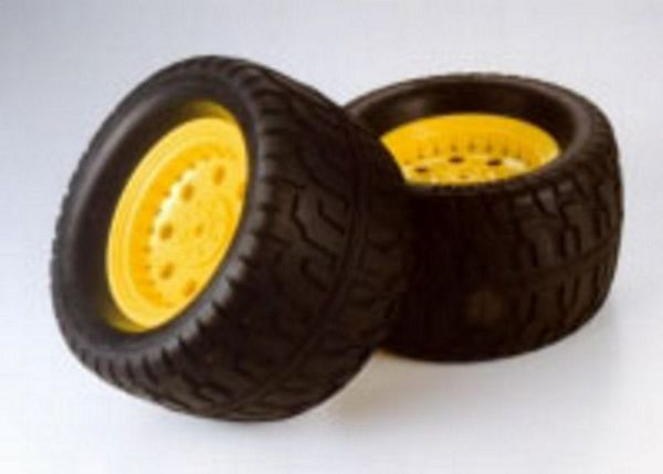 Tamiya 53562 RC GP TGM-02 Tarmac Tire-Wheel Fluorescent Yellow 1pr