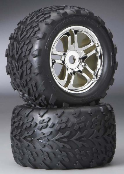 Traxxas 5174R ss 38in Chrome Wheels-Talon Tires
