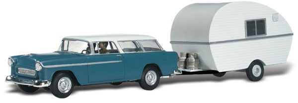 Woodland Scenics 5328 Thompsons Travelin Trailer Assembled AutoScenes Station Wagon With Camper
