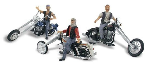 Woodland Scenics 5344 Bad Boy Bikers Assembled AutoScenes 3 Figures And 3 Motorcycles